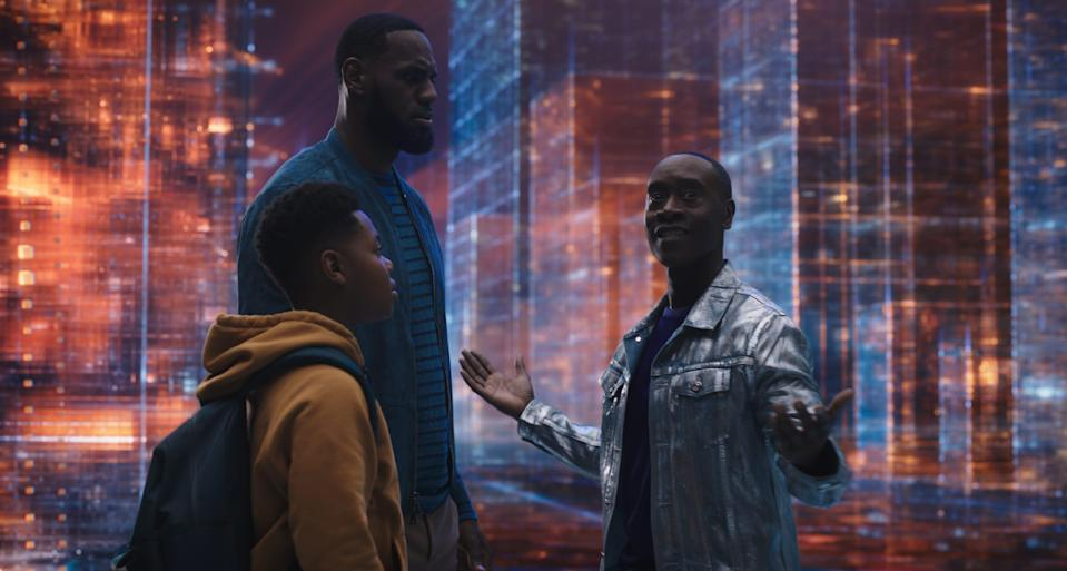 """(L-R) Dom James (Cedric Joe) and his famous father LeBron James are pulled into the """"server-verse"""" by Al G. Rhythm (Don Cheadle)."""