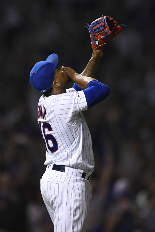 Chicago Cubs closing pitcher Pedro Strop celebrates after defeating the Colorado Rockies 6-3 during a baseball game Tuesday, June 4, 2019, in Chicago. (AP Photo/Paul Beaty)