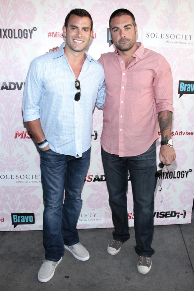 "Anthony Carino and John Colaneri attend the viewing party for Bravo's new series ""Miss Advised"" at the Planet Dailies & Mixology 101 on June 18, 2012 in Los Angeles, California."