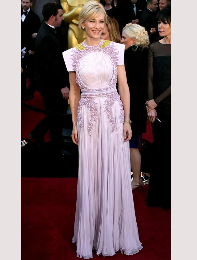 Oscars 2011 photos: Cate Blanchett opted for classical elegance in a Givenchy Couture dress with intricate beading.
