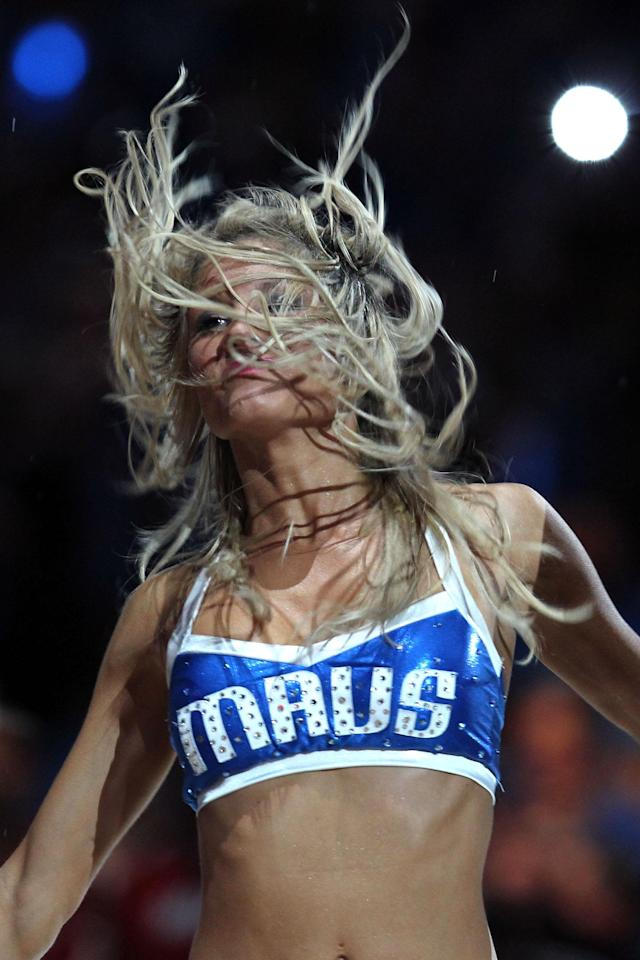 DALLAS, TX - JUNE 07: A Dallas Mavericks cheerleader performs before the Mavericks take on the Miami Heat in Game Four of the 2011 NBA Finals at American Airlines Center on June 7, 2011 in Dallas, Texas. NOTE TO USER: User expressly acknowledges and agrees that, by downloading and/or using this Photograph, user is consenting to the terms and conditions of the Getty Images License Agreement (Photo by Ronald Martinez/Getty Images)
