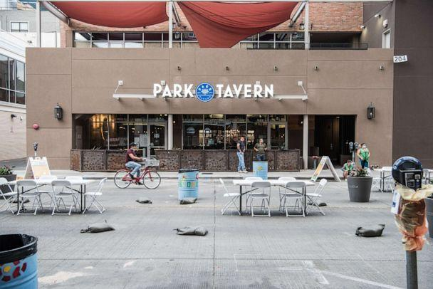 PHOTO: An outdoor seating area sits empty on July 1, 2020, in El Paso, Texas. (Cengiz Yar/Getty Images)
