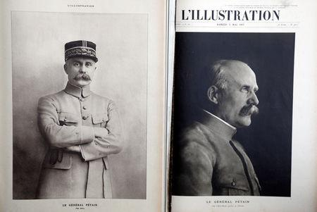 """Portraits of French General Philippe Petain, published in the French newspaper ''L'Illustration"""" on August 4, 1917 (L) and May 5, 1917 (R), are seen in this picture illustration taken November 8, 2018.  REUTERS/Charles Platiau/Illustration"""