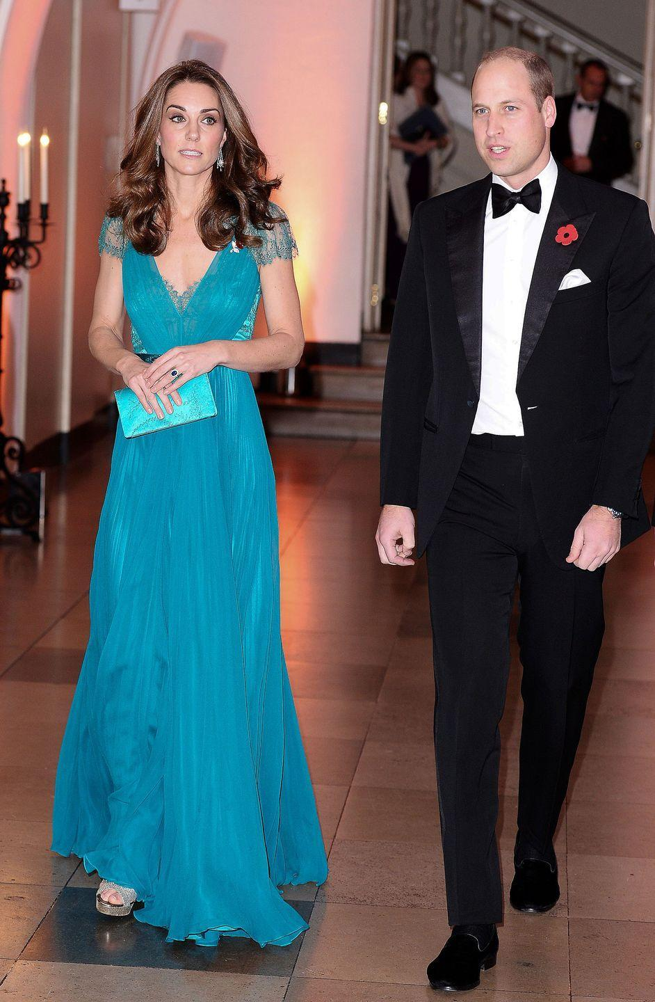 """<p>The Duchess of Cambridge recycled <a href=""""https://www.townandcountrymag.com/style/fashion-trends/a24753075/kate-middleton-jenny-packham-dress-tusk-conservation-awards-2018-photos/"""" rel=""""nofollow noopener"""" target=""""_blank"""" data-ylk=""""slk:a teal Jenny Packham gown"""" class=""""link rapid-noclick-resp"""">a teal Jenny Packham gown</a> for the Tusk Conservation Awards, which were held in London. Kate first wore the stunning dress in 2012.</p>"""