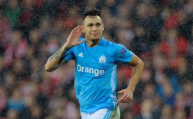 Soccer Football - Europa League Round of 16 Second Leg - Athletic Bilbao vs Olympique de Marseille - San Mames, Bilbao, Spain - March 15, 2018 Marseille's Lucas Ocampos celebrates scoring their second goal REUTERS/Vincent West