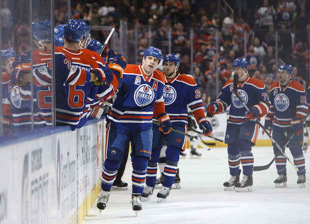 """<a class=""""link rapid-noclick-resp"""" href=""""/nhl/teams/edm/"""" data-ylk=""""slk:Edmonton Oilers"""">Edmonton Oilers</a>' <a class=""""link rapid-noclick-resp"""" href=""""/nhl/players/4306/"""" data-ylk=""""slk:Milan Lucic"""">Milan Lucic</a> (27) celebrates a goal against the <a class=""""link rapid-noclick-resp"""" href=""""/nhl/teams/los/"""" data-ylk=""""slk:Los Angeles Kings"""">Los Angeles Kings</a> during first period NHL action in Edmonton, Alta., on Monday, March 20, 2017. THE CANADIAN PRESS/Codie McLachlan"""