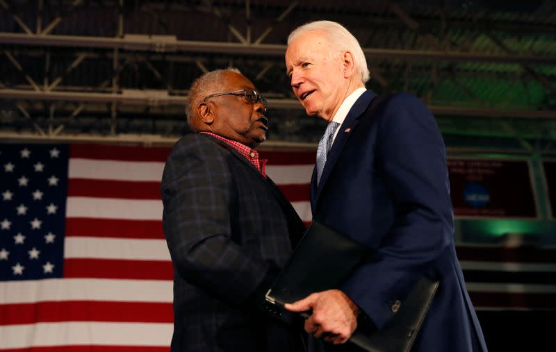 Democratic U.S. presidential candidate and former Vice President Joe Biden arrives to address supporters at his South Carolina primary night rally in Columbia, South Carolina, U.S.