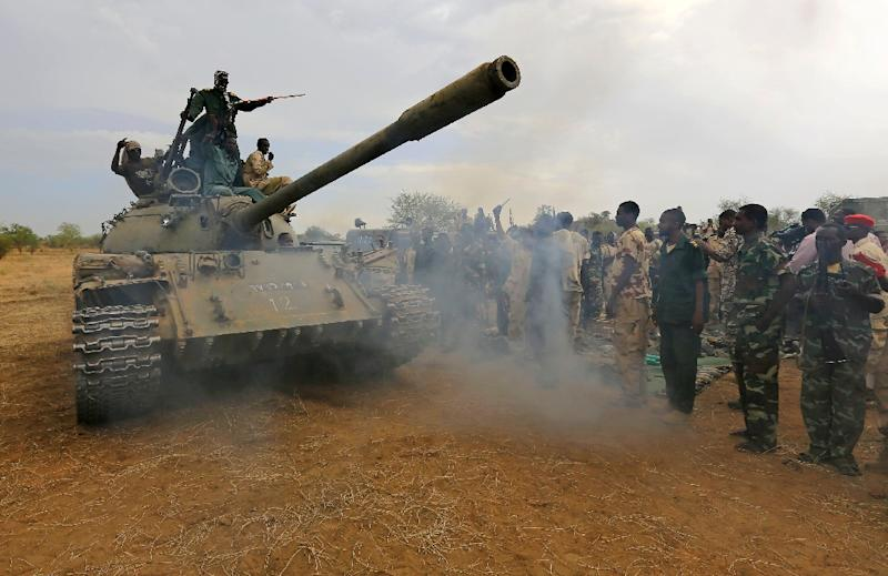 Sudan government forces are pictured on May 20, 2014 celebrating the recapturing of Daldako in South Kordofan, a region where they have been facing a rebellion since 2011 (AFP Photo/)