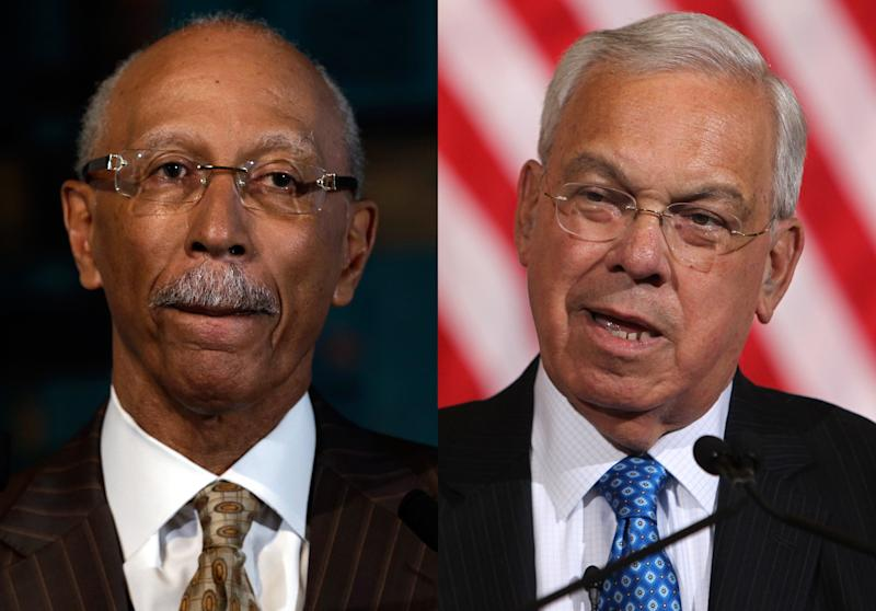"""FILE - This combination of 2013 file photos shows Detroit Mayor Dave Bing, left, and Boston Mayor Thomas Menino. Bing accused his Boston counterpart of insensitivity Tuesday, Sept. 3, 2013 after Menino told a magazine that if he ever visited the Motor City, he'd """"blow up the place and start all over."""" (AP Photo/Paul Sancya, Charles Krupa)"""