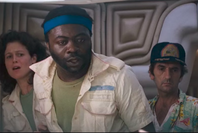 Sigourney Weaver, Yaphet Kotto, and Harry Dean Stanton react to the appearance of the chestburster in a screencap from <em>Alien</em>. (1979)
