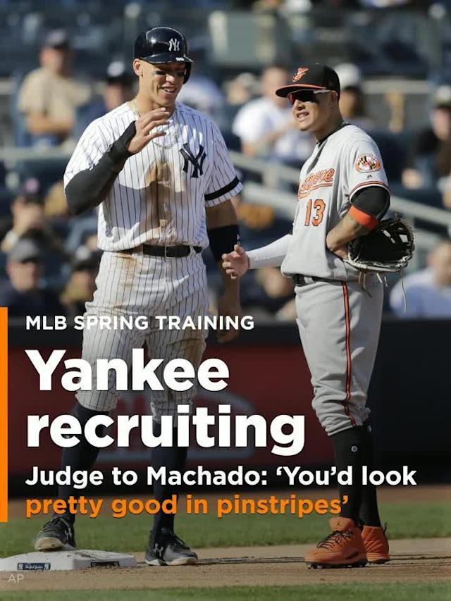 New York Yankees Aaron Judge made a recruiting pitch to Baltimore Orioles IF Manny Machado before the teams preseason game.