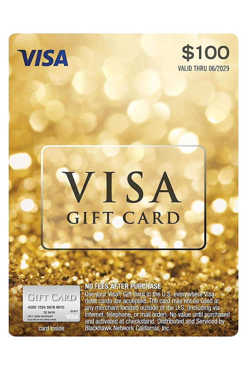 """<p><strong>Visa</strong></p><p>amazon.com</p><p><a href=""""https://www.amazon.com/dp/B01MSBQB1P?tag=syn-yahoo-20&ascsubtag=%5Bartid%7C10049.g.34229001%5Bsrc%7Cyahoo-us"""" rel=""""nofollow noopener"""" target=""""_blank"""" data-ylk=""""slk:Shop Now"""" class=""""link rapid-noclick-resp"""">Shop Now</a></p><p>While we're on the topic of people you don't know that well, and thus, you don't know what to get them, let them figure out for themselves what they want with this gift card that lets them shop pretty much anywhere.</p>"""