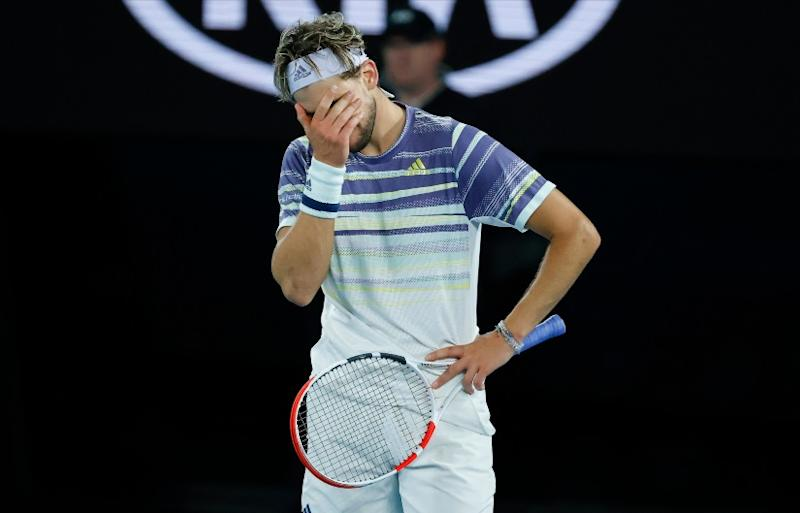 Austria's Dominic Thiem reacts during his match against Serbia's Novak Djokovic. AP