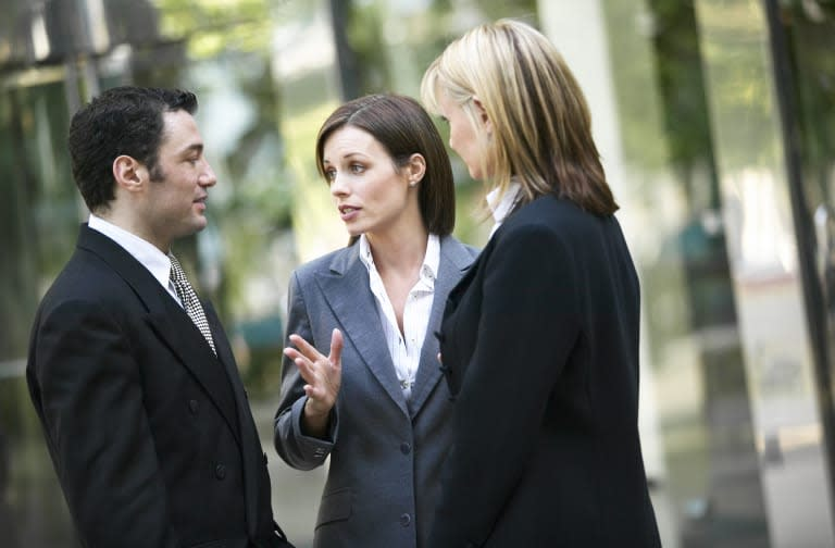 Businesspeople having a discussion