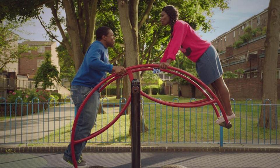 Jonathan Livingstone as Boy Tracy and Michaela Coel as Tracey in Chewing Gum.