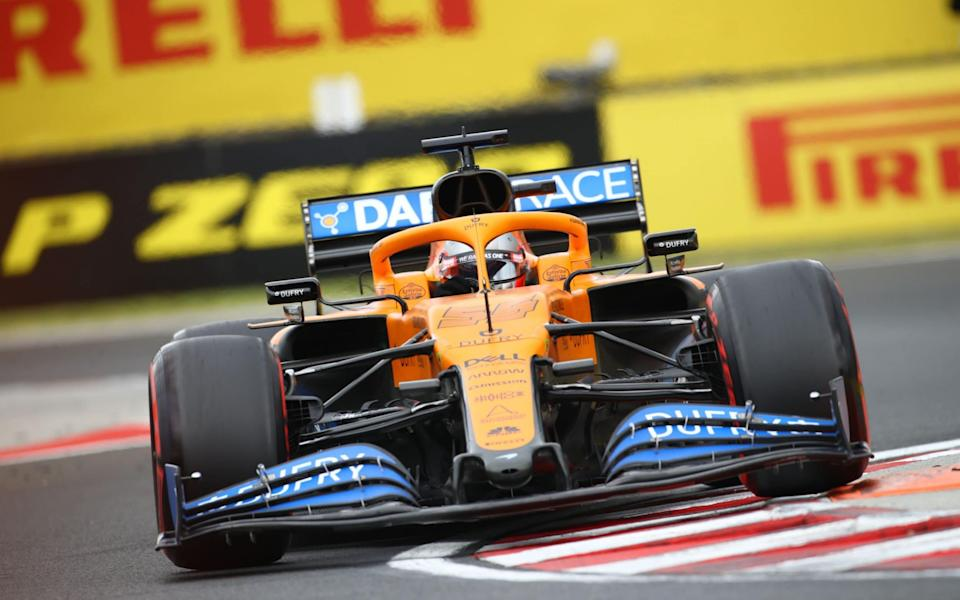 McLaren's Spanish driver Carlos Sainz Jr steers his car during the third practice session for the Formula One Hungarian Grand Prix at the Hungaroring circuit in Mogyorod near Budapest, Hungary, on July 18, 2020 - MARK THOMPSON/AFP