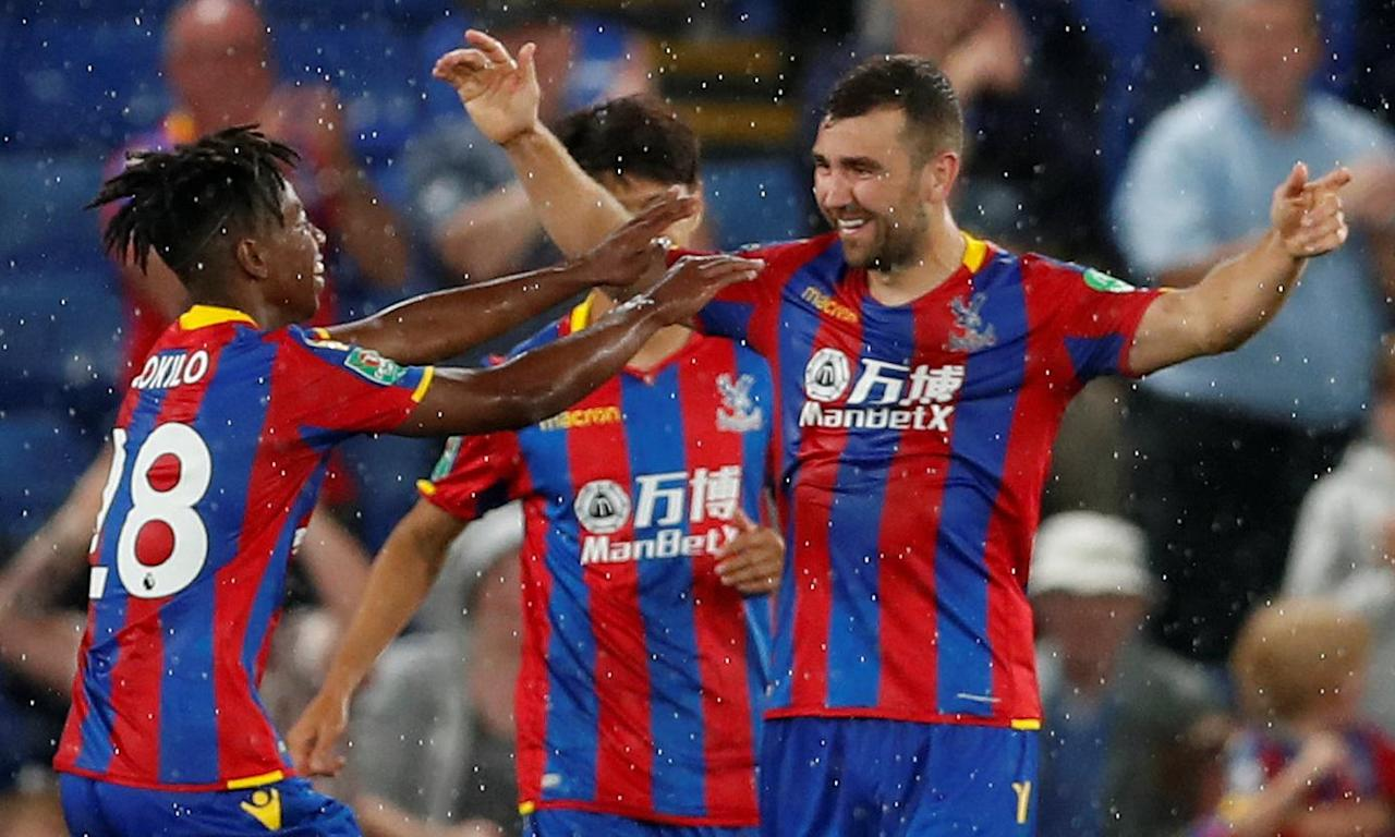 James McArthur celebrates scoring the opening goal for Crystal Palace against Ipswich Town in the second round of the Carabao Cup.