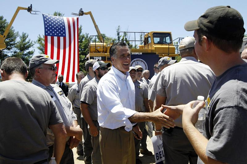 Republican presidential candidate Mitt Romney greets workers as he campaigns at Carter Machinery Company, Inc., in Salem, Va., Tuesday, June 26, 2012. (AP Photo/Charles Dharapak)
