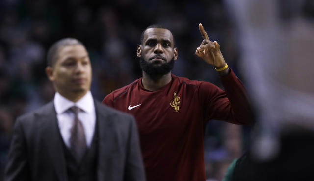 LeBron James and Tyronn Lue aren't on the same page. (AP)