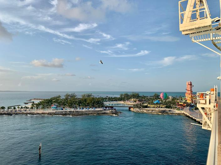 Balcony view of Royal Caribbean's private island, Perfect Day at CocoCay.
