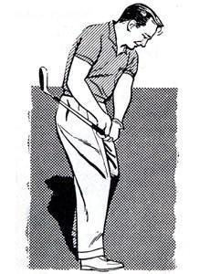 "<p>A common fault among novice golfers is taking too long a backswing on the shots from within, say 40 yards of the green. After taking a long backswing, they let the clubhead ""coast"" into the ball. In short, such golfers are regulating the length of the shot by the force of the swing, rather than its length.</p> <p>Failure to accelerate the clubhead into the ball produces a sloppiness and loss of club control. Scuffed or topped shots result.</p> <p>In the illustration I am hitting a wedge shot of about 30 yards. Note that my backswing is short -- the hands barely reach hip height -- and then I gradually accelerate the speed of the clubhead as it moves into and through the ball.</p> <p>Learn to regulate the distance you hit these shots by the length of your backswing. Thus, you will be able to strike at the ball with about the same force on all shots, regardless of their length. You will not only hit these shots more squarely, but you will also develop a more sensitive touch.</p>"