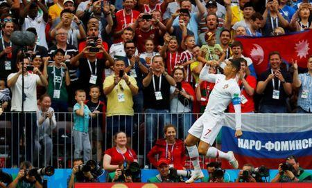 Soccer Football - World Cup - Group B - Portugal vs Morocco - Luzhniki Stadium, Moscow, Russia - June 20, 2018 Portugal's Cristiano Ronaldo celebrates scoring their first goal REUTERS/Kai Pfaffenbach