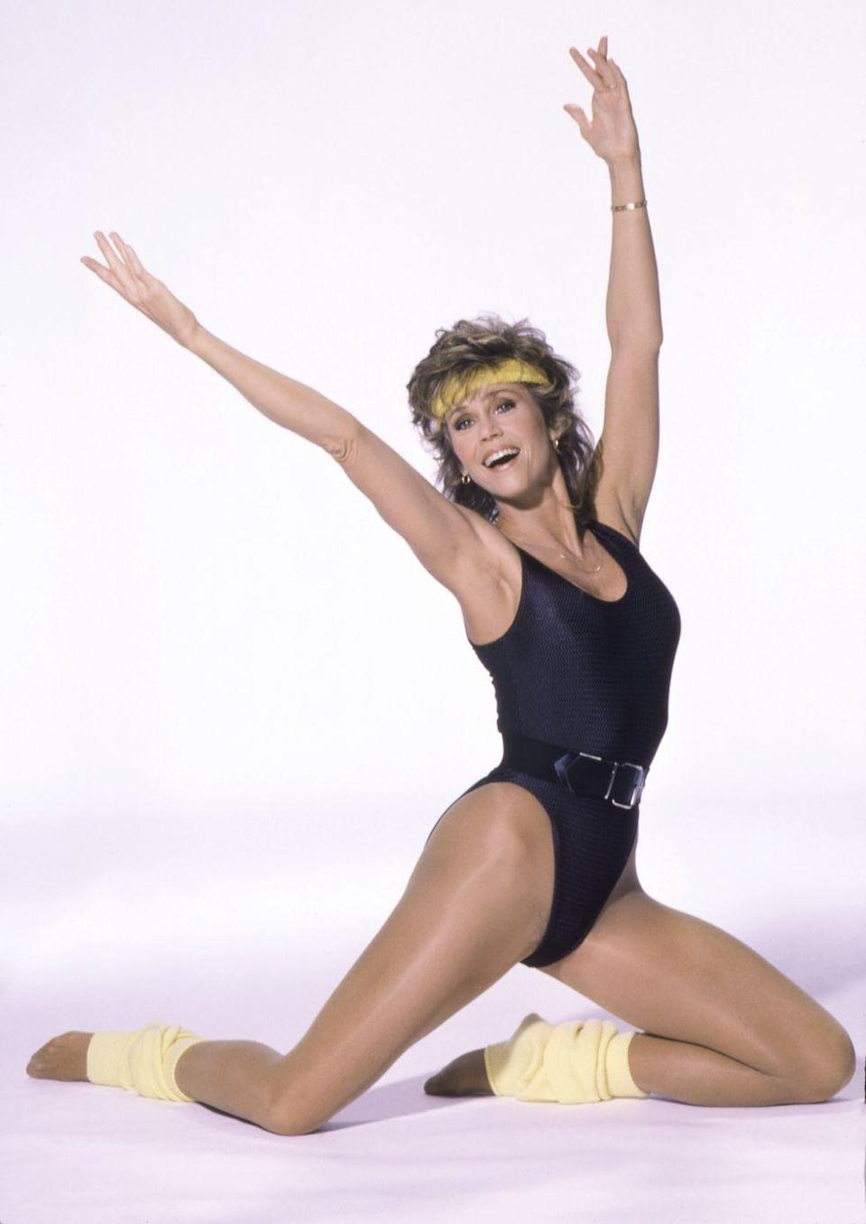 <p>Jane Fonda's revolutionary workout tapes helped popularize the gym look of the era: bodysuits, leg warmers, and sweatbands. </p>