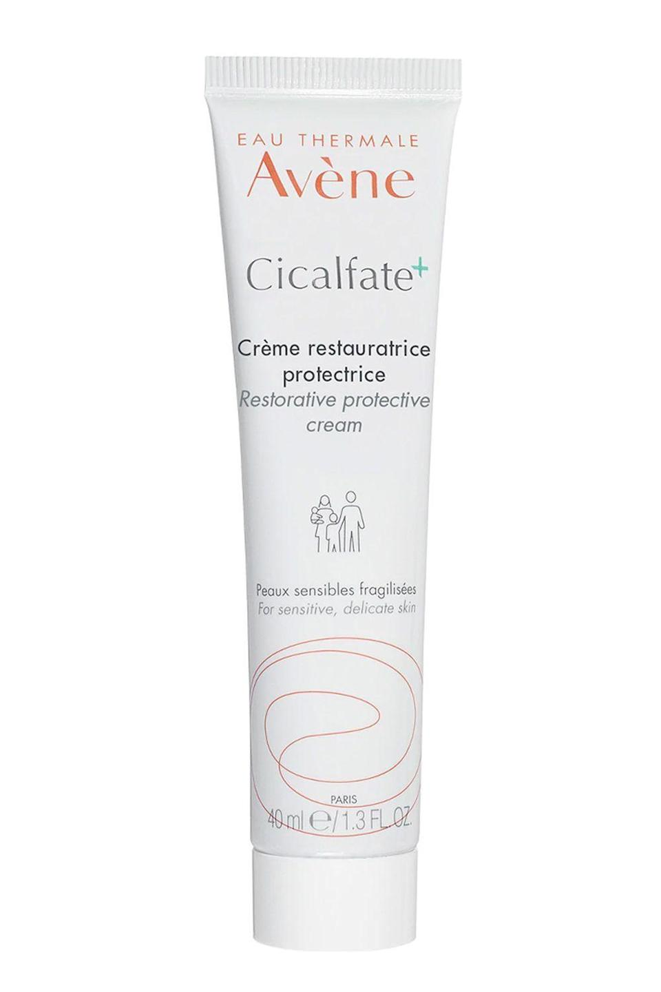 """<p><strong>Avene</strong></p><p>dermstore.com</p><p><strong>$42.00</strong></p><p><a href=""""https://go.redirectingat.com?id=74968X1596630&url=https%3A%2F%2Fwww.dermstore.com%2Fproduct_Cicalfate%2BRestorative%2BProtective%2BCream%2B_83646.htm&sref=https%3A%2F%2Fwww.cosmopolitan.com%2Fstyle-beauty%2Fbeauty%2Fg35089763%2Fbest-rosacea-skin-care-products%2F"""" rel=""""nofollow noopener"""" target=""""_blank"""" data-ylk=""""slk:Shop Now"""" class=""""link rapid-noclick-resp"""">Shop Now</a></p><p>Made with a blend of restorative minerals and soothing thermal spring water, this nourishing <a href=""""https://www.cosmopolitan.com/style-beauty/beauty/g21950910/best-face-moisturizer-skin-type/"""" rel=""""nofollow noopener"""" target=""""_blank"""" data-ylk=""""slk:cream"""" class=""""link rapid-noclick-resp"""">cream</a> is <strong>a must for anyone with rosacea—especially during the dry winter months</strong>. Smooth it on clean skin both morning and night to relieve redness and inflammation.</p>"""