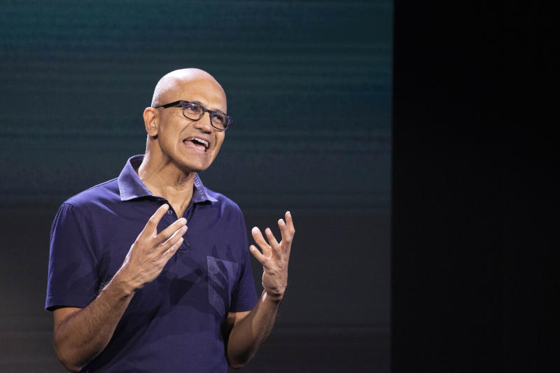 Microsoft CEO Satya Nadella talks during a company event, Wednesday, Oct. 2, 2019 in New York. (AP Photo/Mark Lennihan)