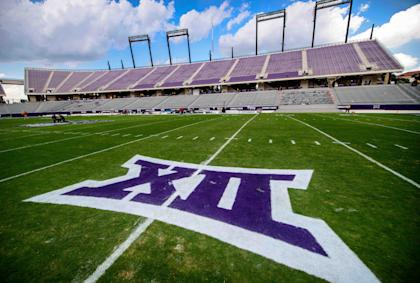 Aug 30, 2014; Fort Worth, TX, USA; A view of the Big 12 conference logo before the game between the Horned Frogs and the Samford Bulldogs at Amon G. Carter Stadium. (Jerome Miron-USA TODAY Sports)