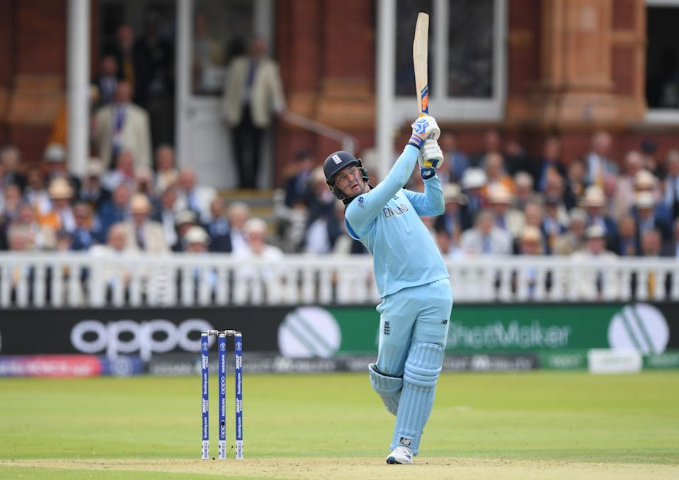 Jason Roy takes the attack to New Zealand. (Photo by Stu Forster-IDI/IDI via Getty Images)