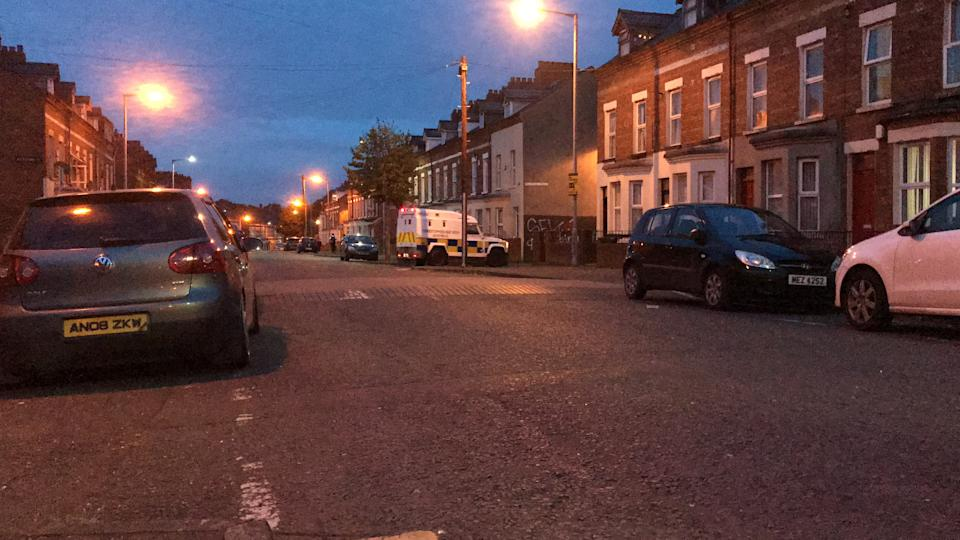 Police maintained a presence in the Holyland area of Belfast on Wednesday evening (Rebecca Black/PA)