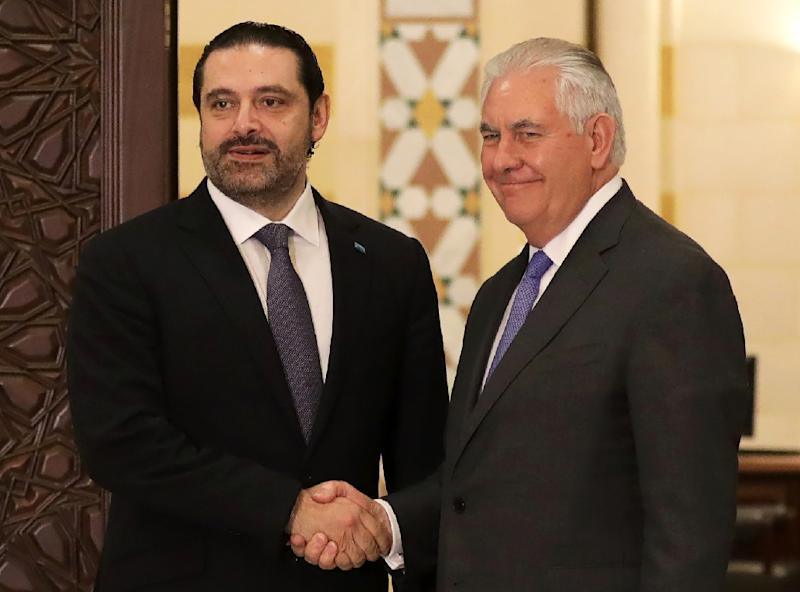 US Secretary of State Rex Tillerson with Lebanese Prime Minister Saad Hariri in Beirut