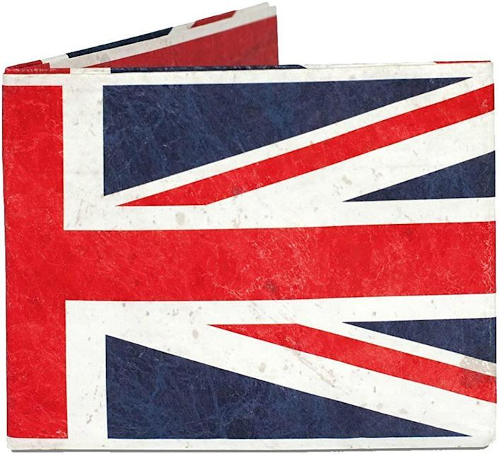 """<p>Let """"Pops"""" represent the U.K. every time he makes a purchase with a gift that's both handy and stylish.</p> <p><strong>Union Jack Wallet, <a href=""""https://www.amazon.com/Mighty-Wallet-Ultra-Strong-Dynomighty/dp/B0073XE148/ref=asc_df_B0073XE148/"""" rel=""""sponsored noopener"""" target=""""_blank"""" data-ylk=""""slk:$13"""" class=""""link rapid-noclick-resp"""">$13</a></strong></p>"""