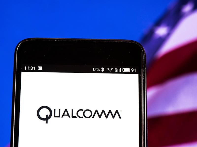 KIEV, UKRAINE - 2018/09/10: Qualcomm logo seen displayed on smart phone. Qualcomm is an American multinational semiconductor and telecommunications equipment company that designs and markets wireless telecommunications products and services. (Photo by Igor Golovniov/SOPA Images/LightRocket via Getty Images)