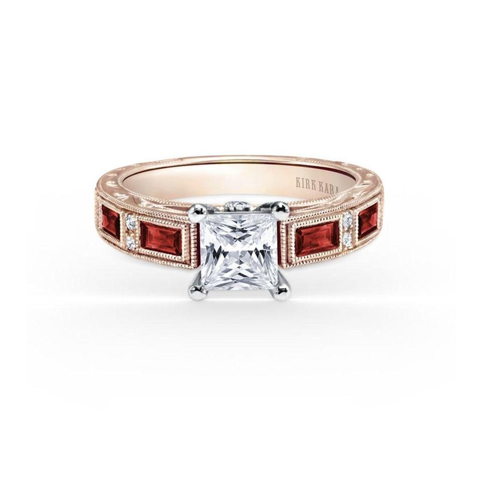 "<p>This simple, yet unique, setting features a center princess diamond stone with four ruby baguettes for a pop of color that is cool and understated, without being too bold. </p><p><em>Diamond and ruby ring in 18K rose gold, $3,430, <a href=""https://www.kirkkara.com/"" rel=""nofollow noopener"" target=""_blank"" data-ylk=""slk:kirkkara.com"" class=""link rapid-noclick-resp"">kirkkara.com</a>.</em></p><p><a class=""link rapid-noclick-resp"" href=""https://www.kirkkara.com/catalog/kirk-kara/ss6685r-rr/"" rel=""nofollow noopener"" target=""_blank"" data-ylk=""slk:SHOP"">SHOP</a></p>"