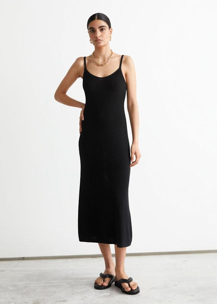 <p>We love the understated elegance and refined look of this <span>&amp; Other Stories Strappy Midi Knit Dress</span> ($89). With its stretchy fabric yet formfitting silhouette, it's the perfect LBD.</p>