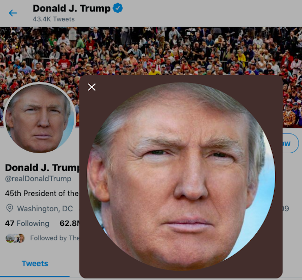 Donald Trump's Twitter page.