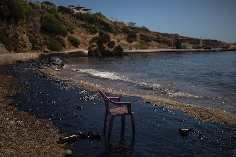 The tanker was carrying around 2,500 tonnes of fuel when it sank (AFP Photo/Angelos Tzortzinis)