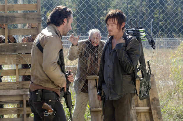 Rick Grimes (Andrew Lincoln) and Daryl Dixon (Norman Reedus) in 'The Walking Dead' episode, 'This Sorrowful Life.'