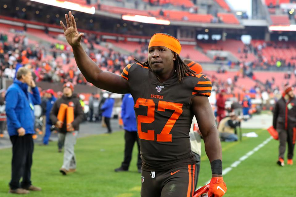 CLEVELAND, OH - DECEMBER 08: Cleveland Browns running back Kareem Hunt (27) leaves the field following the National Football League game between the Cincinnati Bengals and Cleveland Browns on December 8, 2019, at FirstEnergy Stadium in Cleveland, OH. (Photo by Frank Jansky/Icon Sportswire via Getty Images)