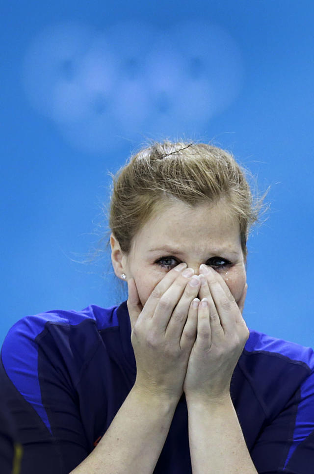 Sweden's Christina Bertrup, breaks into tears of joy after beating Switzerland during the women's curling semifinal game against at the 2014 Winter Olympics, Wednesday, Feb. 19, 2014, in Sochi, Russia. (AP Photo/Wong Maye-E)
