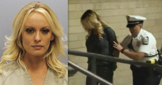 Stormy Daniels's mug shot and a frame from video of the adult-film actress being led into jail in Columbus, Ohio. (Photos: Franklin County Sheriff's Office via AP, WBNS via AP)