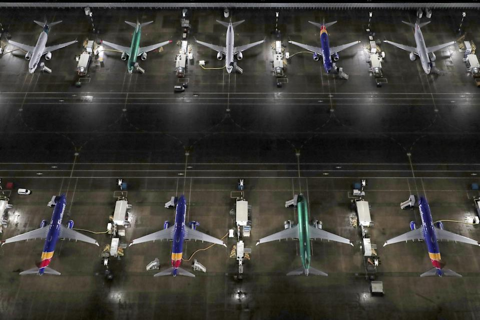 Boeing 737 Max airplanes parked at Boeing Field in Seattle, Washington, US. Photo: Gary He/Reuters