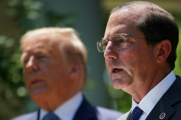 US Secretary of Health and Human Services Alex Azar, who is paying a visit to Taiwan denounced by Beijing, is seen at the White House with President Donald Trump in May 2020