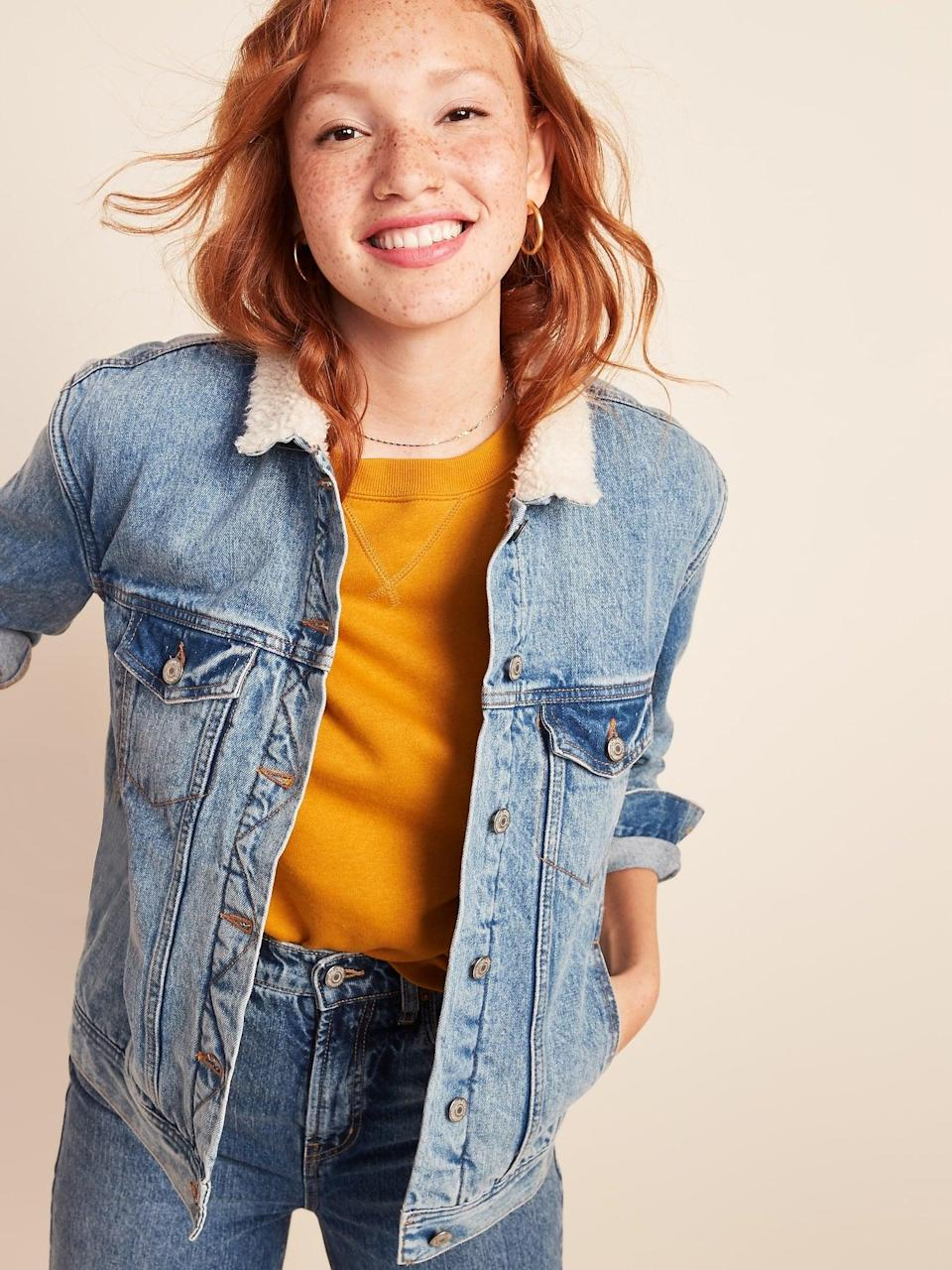 <p>The <span>Sherpa-Lined Boyfriend Jean Jacket</span> ($44, originally $55) is a great layering piece. Wear it over hoodies, long-sleeved tees, or even dresses depending on the temperature.</p>