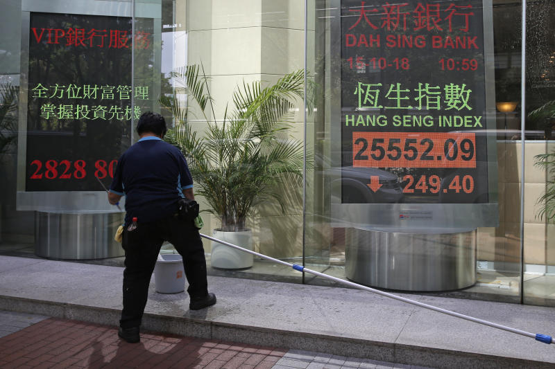 A worker stands in front of an electronic board showing Hong Kong share index outside a bank In Hong Kong, Monday, Oct. 15, 2018. Asian stocks slipped Monday, as investor worries continued about global trade tensions and prospects for economic growth. (AP Photo/Kin Cheung)