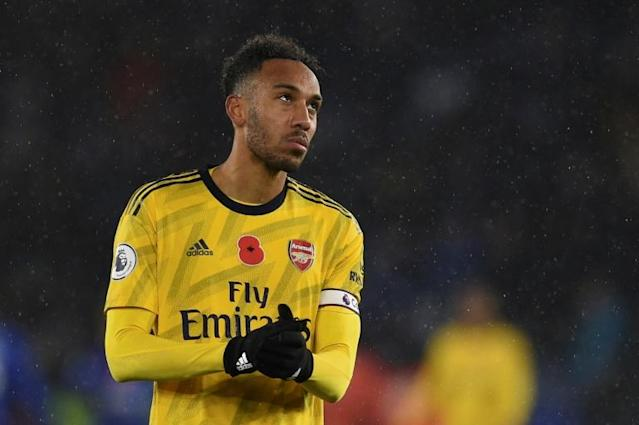 Gabon forward and former African Footballer of the Year Pierre-Emerick Aubameyang shows his disappointment after Arsenal lost to Leicester City at the weekend (AFP Photo/Oli SCARFF )