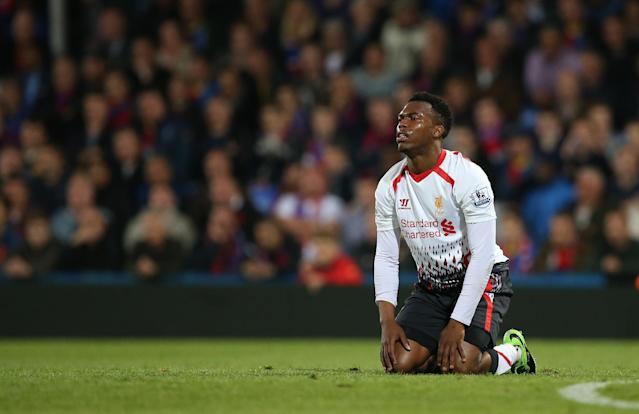 Liverpool's Daniel Sturridge reacts, after missing a chance on goal, during their English Premier League soccer match between Crystal Palace and Liverpool at Selhurst Park stadium in London, Monday, May 5, 2014. (AP Photo/Alastair Grant)