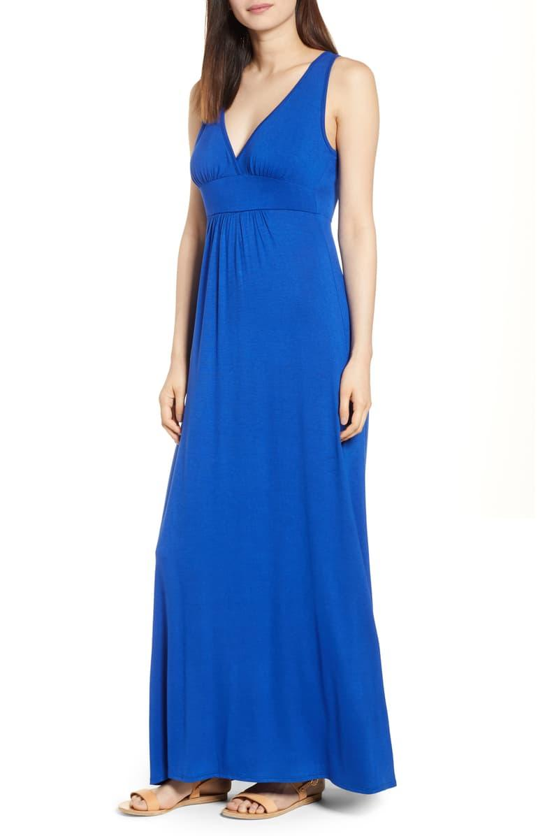 Loveappella V-neck Jersey Maxi Dress in blue mazarine